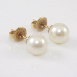14K Yellow Gold 7mm Pearl Post Earrings